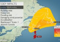 Hurricane Teddy to stay off US coast, bear down on Canada
