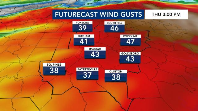At around 3 p.m. on Thursday, winds are expected to reach 30 to 40 mph.