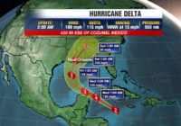 Hurricane Delta reaches Category 3 with 115 mph winds as it tracks into the Gulf of Mexico