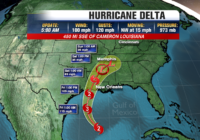Hurricane Delta track shows strong storm hitting Louisiana on Friday