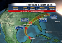 Zeta reverts back to tropical storm as it moves over Yucatán Peninsula, expected to strengthen back into hurricane