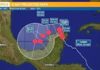 Tropical Storm Gamma moves across Yucatan Peninsula
