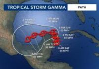 Strong Tropical Storm Gamma drenches Cancun area of Mexico