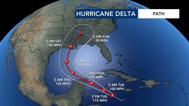 Hurricane Delta path