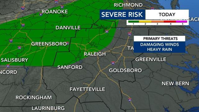 Level 1 risk for severe weather Thursday