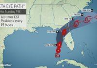 Eta strengthens into a Category 1 hurricane