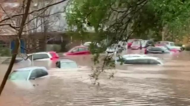 Cars beneath flood waters in Charlotte.