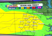 Central North Carolina under Level 2 for severe weather; strong storms with damaging winds possible later Saturday