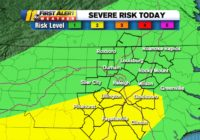 Severe weather risk increased to level 2 for part of central North Carolina
