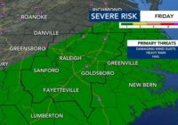Level 1 risk for severe weather in place as central NC reaches the 80s