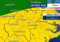 Risk for severe weather on Monday decreasing in central NC