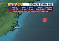 Tropical Storm Bill forms off North Carolina coast; expected to move away from land