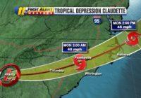Heavy rain, tornado risk near Triangle as Tropical Depression Claudette moves into North Carolina