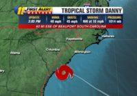Tropical Storm Danny forms off South Carolina coast, expected to make landfall Monday evening