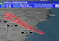 Tropical Storm Danny forms off SC coast, to move into state in next few hours