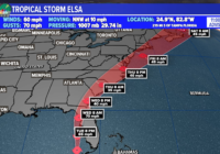 Tropical Storm Elsa slightly strengthens as it approaches Virginia