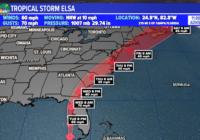 Tropical Storm Elsa moving through New York City and Boston