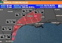 Tropical Storm Nicholas set to make landfall, two more named storms possible later this week