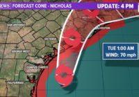 Tropical Storm Nicholas strengthens slightly, nears Texas coast
