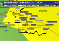 Damaging wind, small hail, potential flooding possible across Carolinas Wednesday