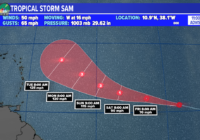 Tropical Storm Sam forms in the Atlantic Basin