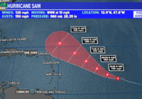 Sam rapidly intensifies into a Category 3 major hurricane