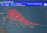 Sam strengthens into a hurricane, watching two other areas
