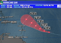 Sam rapidly intensifies into a Category 2 hurricane, major expected soon